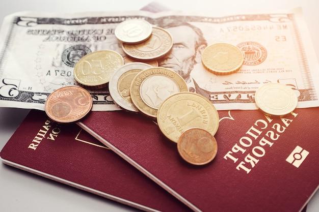 Paszport z banknotami i monetami na równinie.