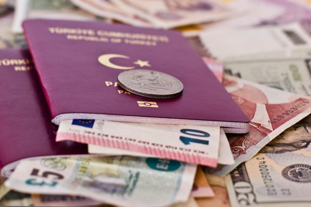 Paszporty zagraniczne i pieniądze z różnych krajów