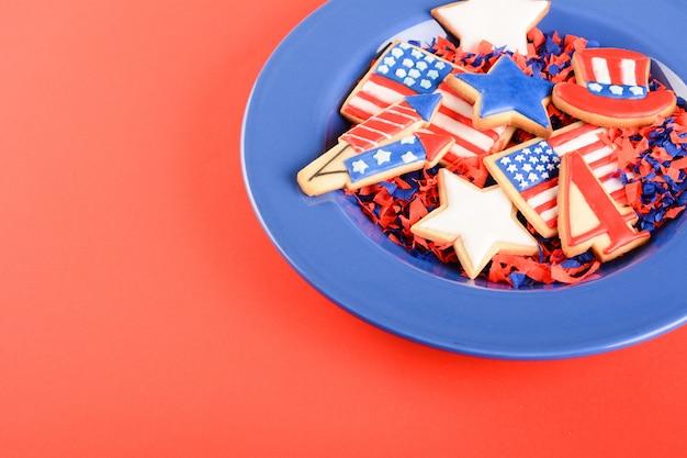 Patriotyczne ciasteczka na 4 lipca.