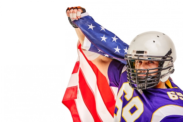 Patriotyczny futbol amerykański gracz pozowanie