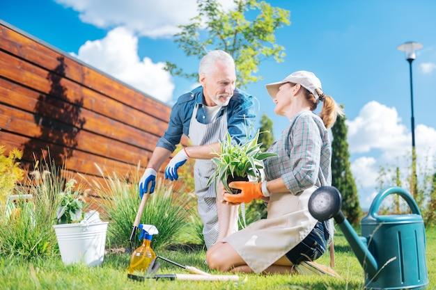 Patrząc na żonę. przystojny dojrzały mężczyzna patrząc na swoją atrakcyjną żonę podczas sadzenia kwiatów razem w weekend