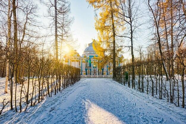 Pawilon ermitażu na przedmieściach carskiego sioła (puszkina) w sankt petersburgu. rosja.