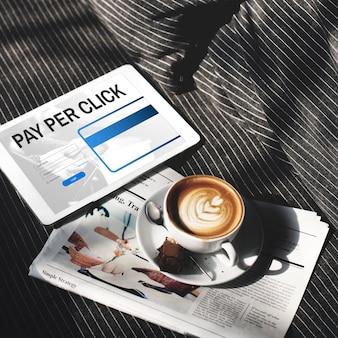 Pay per click zaloguj się strona internetowa płatności koncepcja graficzna