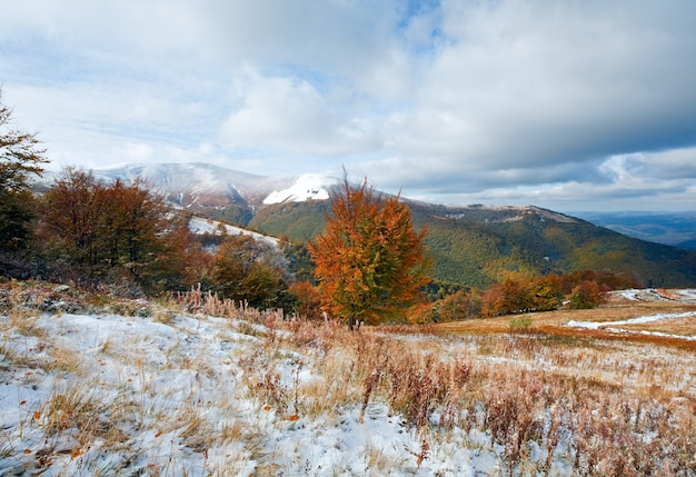 Październik karpat górski płaskowyż borghava z pierwszym zimowym śniegiem i jesiennymi kolorowymi liśćmi