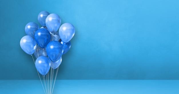 Pęczek balonów na tle niebieskiej ściany. renderowanie 3d