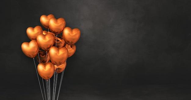 Pęczek balonów w kształcie miedzianego serca na tle czarnej ściany. renderowanie 3d