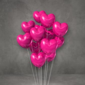 Pęczek balonów w kształcie różowego serca na szarej ścianie. renderowanie 3d