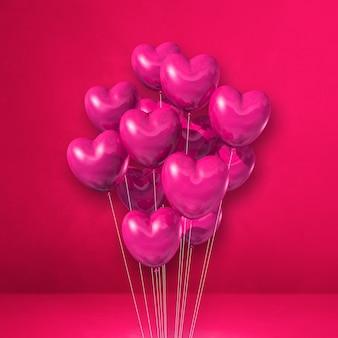 Pęczek balonów w kształcie serca na tle różowej ściany. renderowania 3d ilustracji