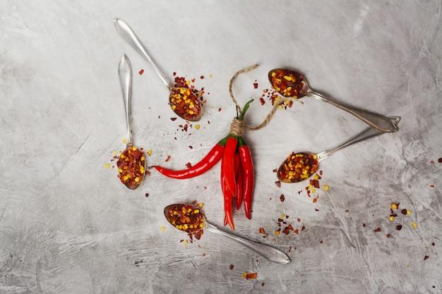 Pęczek czerwonej papryczki chili i płatki w łyżkach na szarym kamiennym stole w kuchni