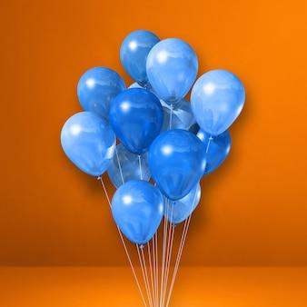 Pęczek niebieskie balony na pomarańczowej ścianie. renderowanie 3d