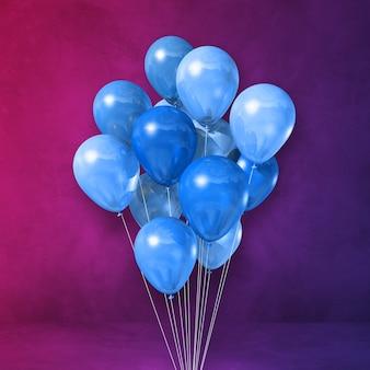 Pęczek niebieskie balony na tle fioletowej ściany. renderowania 3d ilustracji