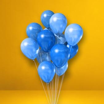 Pęczek niebieskie balony na tle żółtej ściany. renderowania 3d ilustracji