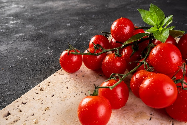 Pęczek pomidorów z liśćmi bazylii na białym marmurze.