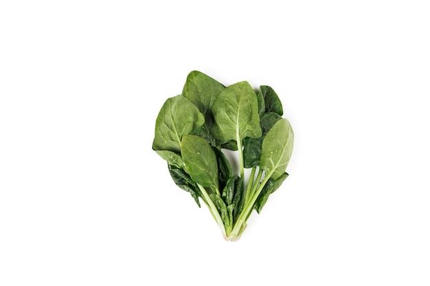 Pęczek świeżego szpinaku zielony na białym tle