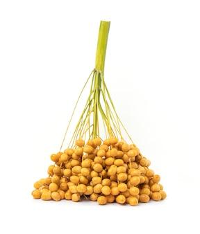 Pęczek żółty dat surowych lub palmy daktylowej na białym tle