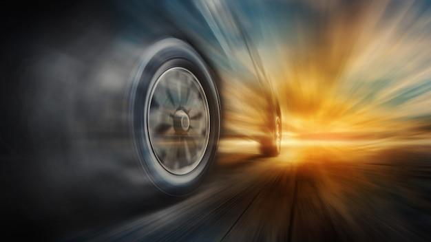 Pędzący samochód na drodze