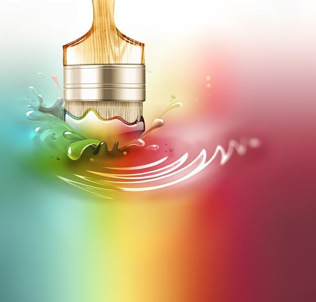 Pędzel w plamie farby - koncepcyjne kreatywne tło