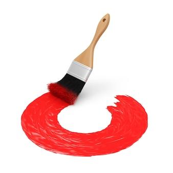 Pędzel z czerwonym pociągnięciem farby na białym tle