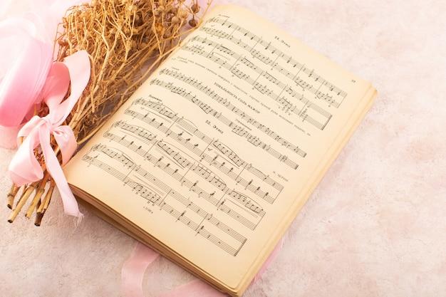 Peganum harmala roślina z różową kokardką i notatkami muzycznymi zeszyt na różowym stole roślina zdjęcie kolorowa muzyka
