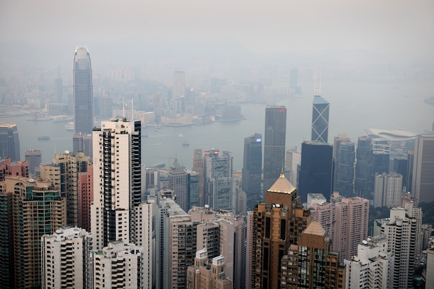 Pejzaż hongkongu od wiktorii.