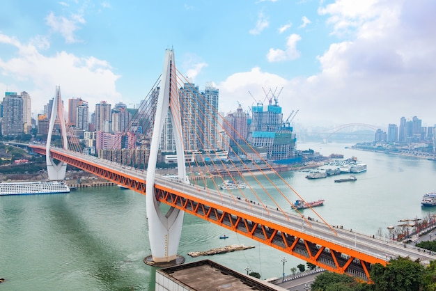 Pejzaż i panoramę chongqing w chmurze nieba