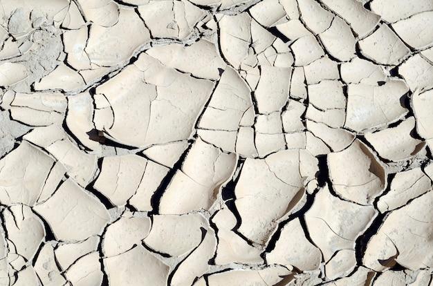 Pęknięcia w błocie zbiornika z powodu suszy