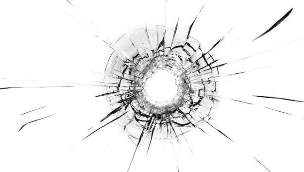 Pęknięcia w szkle, dziura po kulach w szkle na białym tle. tekstura szkła okiennego.