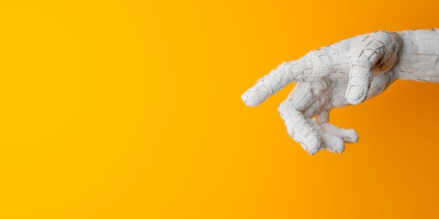 Pęknięta dłoń wskazująca środek obrazu na żółtym tle i miejsce na tekst. renderowania 3d