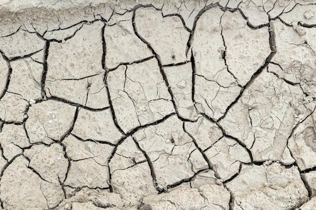 Pęknięty suszonej ziemi tekstury tła, z bliska.