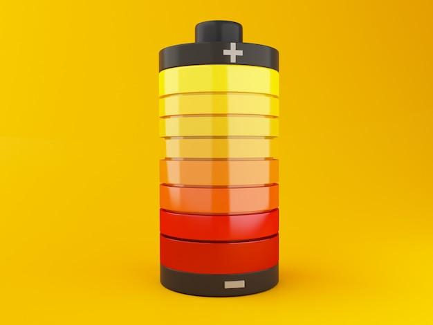 Pełna bateria do ładowania. wskaźnik stanu ładowania akumulatora na żółtym tle. 3d ilustracja