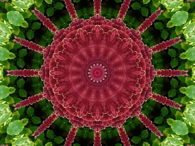Pełna klatka ilustrująca czerwony kwiat z zielonymi liśćmi