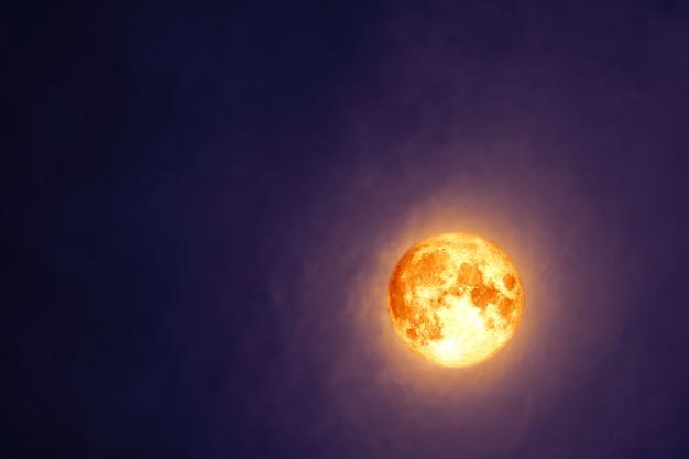 Pełna krew beaver moon na ciemnej chmurze na nocnym niebie