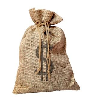 Pełna torba grubej tkaniny z dolarami na białym tle odizolowane
