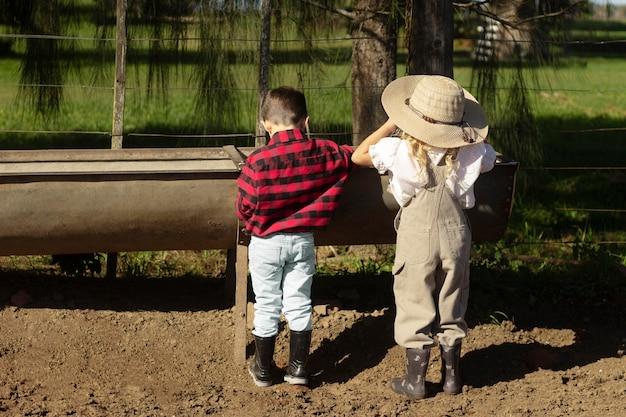 Pełne ujęcie dzieci na farmie