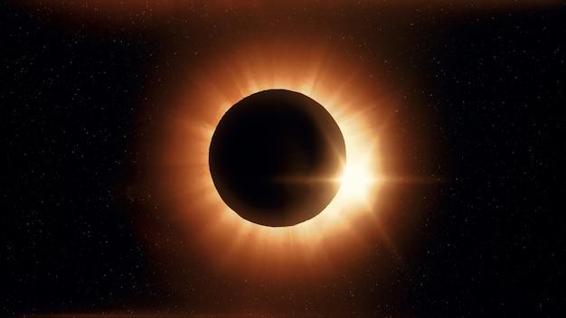 Pełne zaćmienie słońca. księżyc w większości zakrywa widoczne słońce, tworząc efekt diamentowego pierścienia. to astronomiczne zjawisko może być postrzegane jako znak końca świata. 3d ilustracji