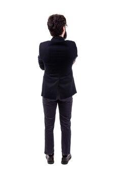 Pełnej długości portret brodaty biznesmen, widok z tyłu, na białym tle