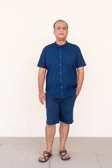 Pełnej długości portret indyjskiego mężczyzny stojącego przed zwykłą ścianą