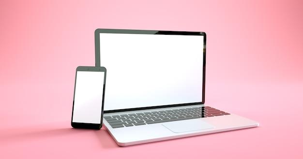 Pełnoekranowy projekt makiety smartfona i laptopa. zestaw urządzeń cyfrowych