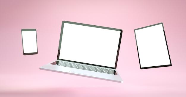 Pełnoekranowy projekt makiety smartfona, tabletu i laptopa. zestaw urządzeń cyfrowych