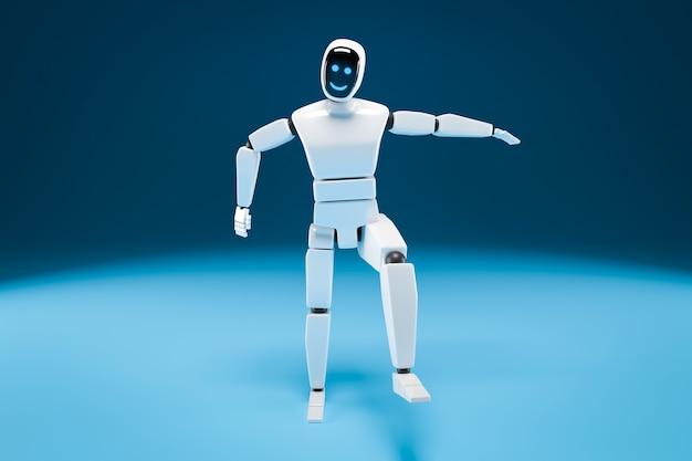 Pełnowymiarowy robot z monitorem na twarzy wykonuje ruch rękami i nogami na niebieskim tle. ilustracja 3d.