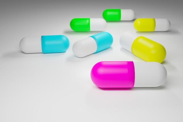 Pełny kolor kapsułek leków na białym tle, renderowanie ilustracji 3d