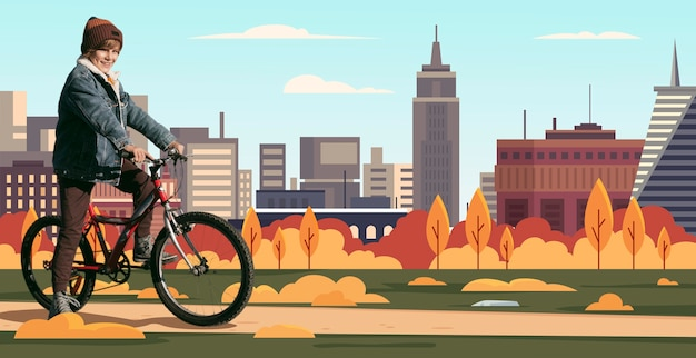 Pełny strzał chłopca jadącego na rowerze z ilustracyjnym tłem