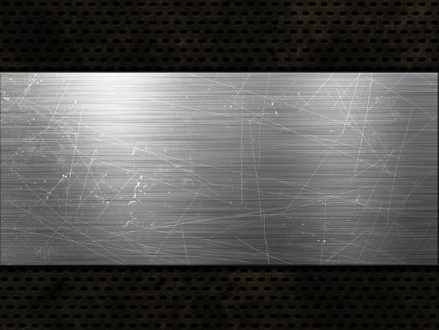 Perforowana metaliczna tekstura w stylu grunge z porysowaną metalową płytą
