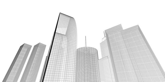 Perspektywa budynku, gród na białym tle, nowoczesny budynek w panoramie miasta