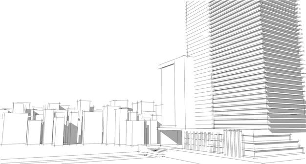 Perspektywa budynku pejzaż miejski na białym tle nowoczesny budynek w panoramie miasta