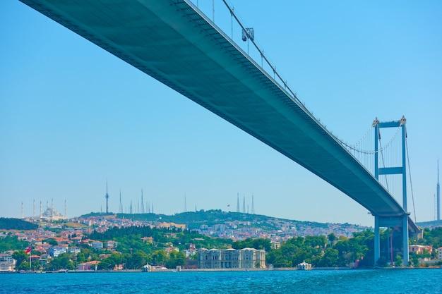 Perspektywa mostu fatih sultan mehmet nad cieśniną bosfor w stambule, turcja
