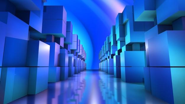Perspektywa Tunelu Struktury Niebieski Prostokąt, Nowoczesny Styl Technologii, Renderowanie 3d Premium Zdjęcia