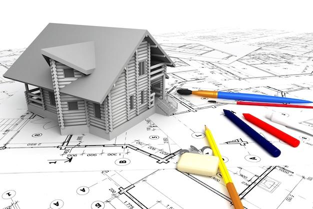 Perspektywiczny widok projektu prywatnego domu na rysunkach