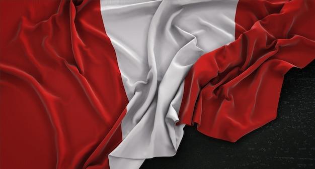 Peru flagi pomarszczony na ciemnym tle renderowania 3d