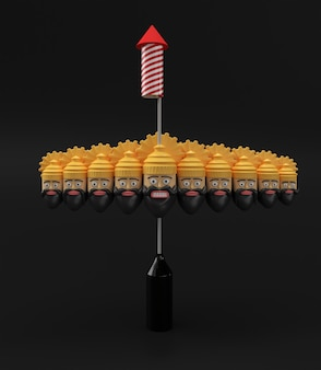 Petardy rakietowe w doniczce z ravana dziesięć głów ilustracja renderowania 3d.